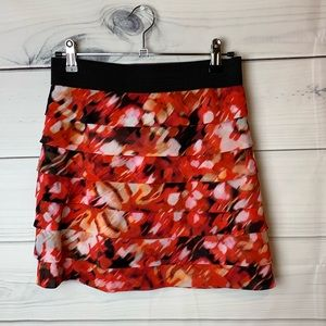 Guess Red Print Ruffled skirt size S